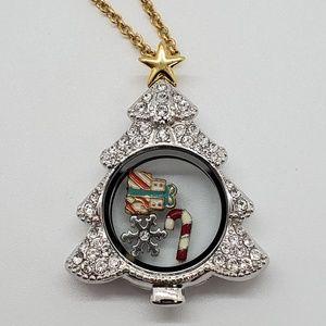 Origami Owl Swarovski Christmas Tree locket set